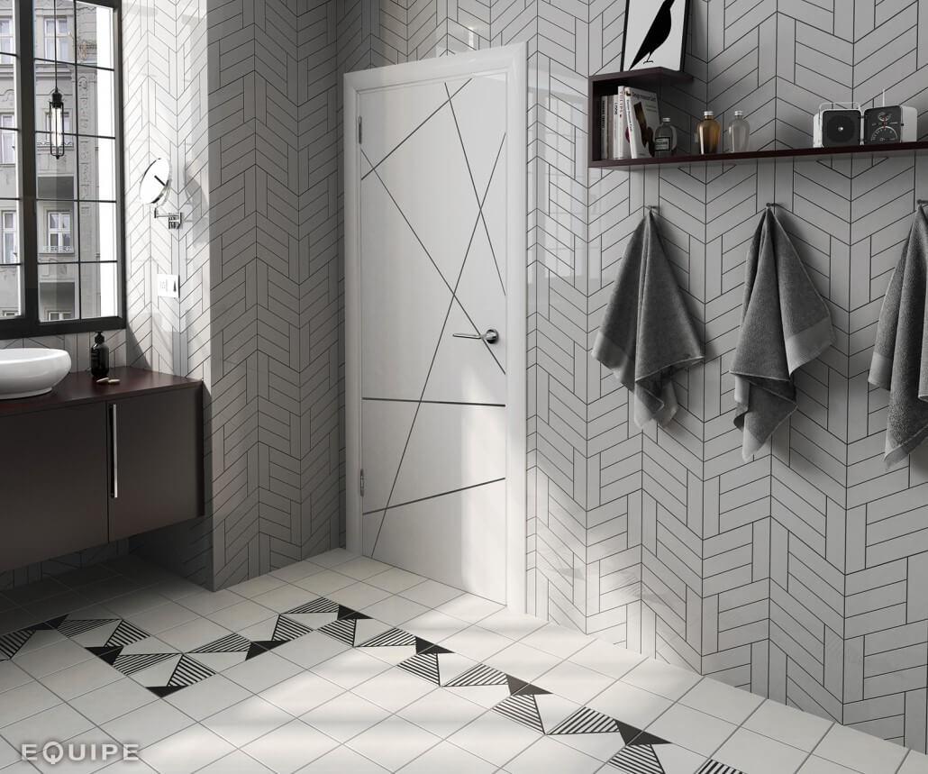 Motyw chevron na podłogach i ścianach
